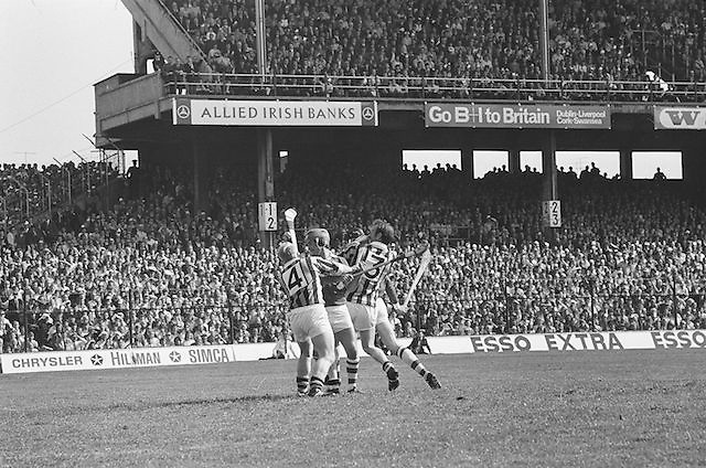 Two Kilkenny players surround Cork player in a fight for the slitor during at the All Ireland Senior Hurling Final, Cork v Kilkenny in Croke Park on the 3rd September 1972. Kilkenny 3-24, Cork 5-11.