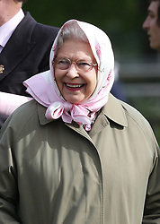 The Queen smiles after her horse Barbers Shop won Class 78 at the Royal Windsor Horse Show, Friday, May 10th 2013.  Photo by: Stephen Lock / i-Images