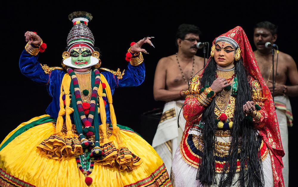 "Kalamandalam Mukundan (Krishna) and Kalamandalam Anil Kumar (Draupadi), Kerala Kalamandalam Kathakali Troupe, performing Dussasana Vadhom (""The Killing of Dussasana"") from the Mahabharata , part of Lincoln Center's White Light Festival"