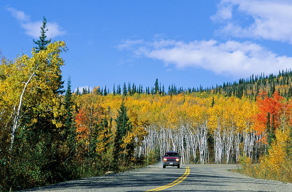 Canada. Yukon Territory. Autumn Road near Dawson City.
