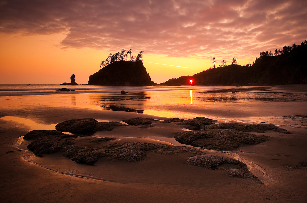 Second Beach at sunset, Olympic National Park, Washington.