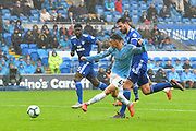 Phil Foden (47) of Manchester City shoots at goal during the Premier League match between Cardiff City and Manchester City at the Cardiff City Stadium, Cardiff, Wales on 22 September 2018.