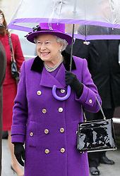 The Queen arriving to officially open the redevelopment of Jubilee Gardens on the Southbank in London , Thursday  October  25th 2012.  Photo by: Stephen Lock / i-Images