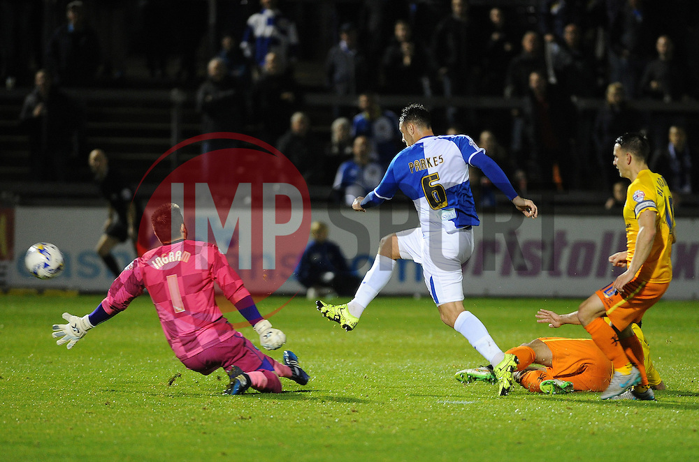 Tom Parkes of Bristol Rovers goes close to making it 3-0 - Mandatory byline: Neil Brookman/JMP - 07966 386802 - 06/10/2015 - FOOTBALL - Memorial Stadium - Bristol, England - Bristol Rovers v Wycombe Wanderers - JPT Trophy