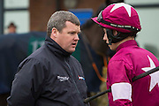Navan Races, Saturday 27th February 2016.<br /> Trainer Gordon Elliott talks with jockey Bryan Cooper before the start of the the Nobber Maiden Hurdle at Navan<br /> Photo: David Mullen /www.cyberimages.net / 2016