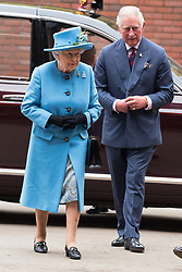 © Licensed to London News Pictures. 24/10/2017. London, UK. Queen Elizabeth II and The Prince of Wales visit the Household Cavalry Mounted Regiment at Hyde Park Barracks. Photo credit: Ray Tang/LNP
