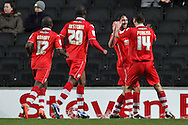 Picture by David Horn/Focus Images Ltd +44 7545 970036.26/12/2012.Will Grigg (2nd right) of Walsall celebrates scoring during the npower League 1 match at stadium:mk, Milton Keynes.
