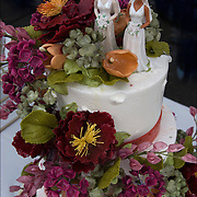 Gay Pride Wedding Cake instead of bride and groom, bride and bride, outdoors after pride parade in Greenwich Village NYC.