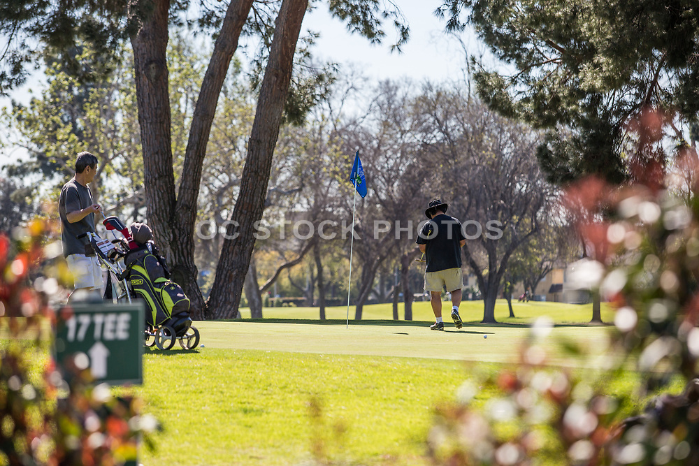 Male Golfers at Los Amigos Golf Course Downey California