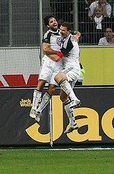 30.10.2010, Volkswagen Arena, Wolfsburg, GER, FBL, VfL Wolfsburg vs VfB Stuttgart, im Bild Torjubel von Diego (Wolfsburg #28) und Torschuetze Edin Dzeko (Wolfsburg #9) EXPA Pictures © 2010, PhotoCredit: EXPA/ nph/  Schrader+++++ ATTENTION - OUT OF GER +++++