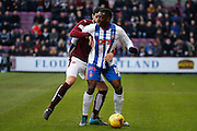 Kilmarnock FC Midfielder Tope Obadeyi hold up the play during the Ladbrokes Scottish Premiership match between Heart of Midlothian and Kilmarnock at Tynecastle Stadium, Gorgie, Scotland on 27 February 2016. Photo by Craig McAllister.