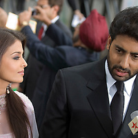 SHEFFIELD, UNITED KINGDOM - 9th June 2007: Newlywed Bollywood actors Ayshwarya Rai and Abhishek Bachchan at   International Indian Film Academy Awards (IIFAs) at the Sheffield Hallam Arena on June 9, 2007 in Sheffield, England.