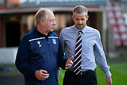 2nd Aug 2019, East End Park, Dunfermline, Fife, Scotland, Scottish Championship football, Dunfermline Athletic versus Dundee;  Dundee assistant manager Jimmy Nicholl speaks to Dunfermline Athletic manager Stephen Crawford