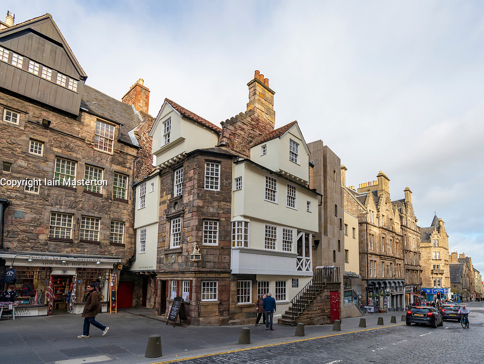 View of John Knox House and the historic  Royal Mile in Edinburgh Old Town in Edinburgh, Scotland, UK.