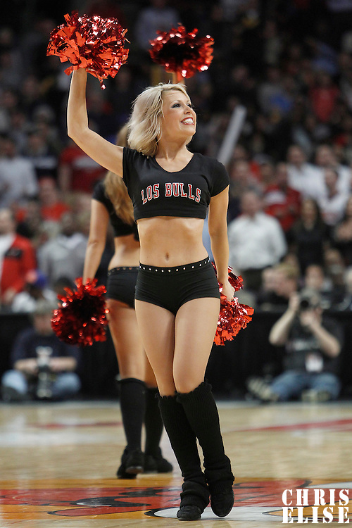 12 March 2012: Luvabull Carissa Frame performs during the Chicago Bulls 104-99 victory over the New York Knicks at the United Center, Chicago, Illinois, USA.