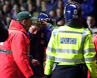 Photo. Richard Lane. <br />Aston Villa v Birmingham City. Barclaycard Premiership. 03/03/2003<br />Robbie Savage leaves the field under police escort.