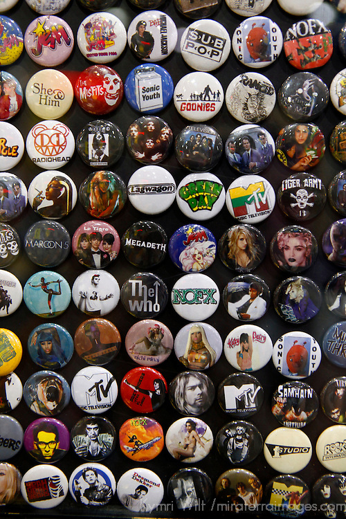 USA, California, Los Angeles. Buttons at Amoeba Music Store in Hollywood.