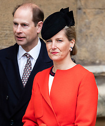 WINDSOR - UK - 27th Mar 2016: HM Queen Elizabeth, accompanied by HRH The Duke , The Duke and members of the royal family attends the annual Easter Sunday service at St George's Chapel in the grounds of Windsor Castle.<br /> <br /> Sophie Wessex<br /> Photograph by Ian Jones.