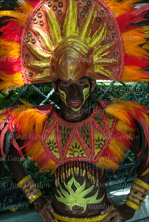 Ethnic Pride for Filipinos in the Philippine Day Day Parade. Wearing Carnival regalia and mask