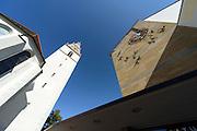 St. Nikolaus Kirche, Rathaus, Adenauerplatz, Friedrichshafen, Bodensee, Baden-Württemberg, Deutschland