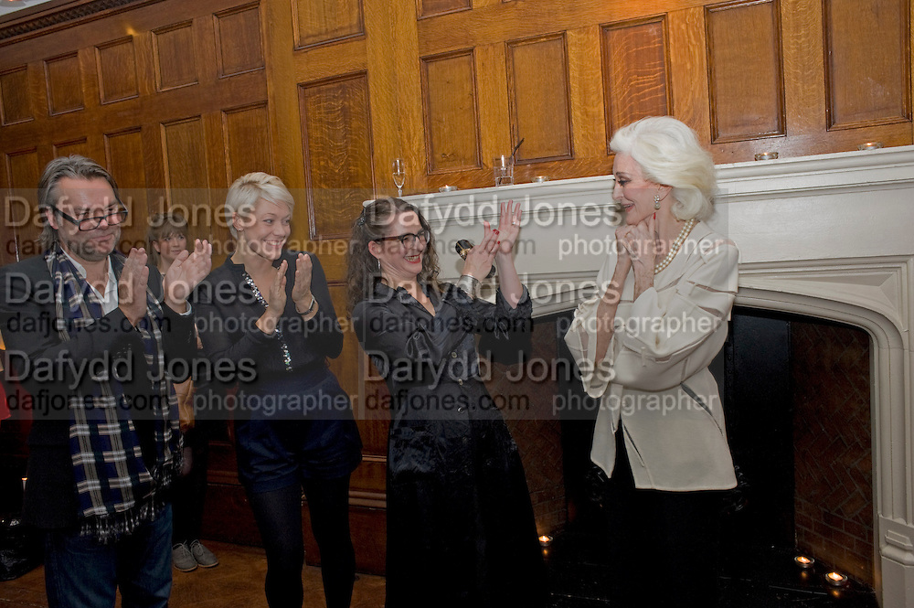 DAVID DOWNTON; ANNA MILLHOUSE; PROF FRANCES CORNER; CARMEN DELL'OREFICE, London College of Fashion hosts party to celebrate the opening of Carmen: A Life in Fashion with guest of honour Carmen Dell'Orefice. Il Bottachio, Hyde Park Corner. London. 16 November 2011. <br /> <br />  , -DO NOT ARCHIVE-© Copyright Photograph by Dafydd Jones. 248 Clapham Rd. London SW9 0PZ. Tel 0207 820 0771. www.dafjones.com.