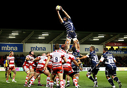 Bryn Evans of Sale Sharks catches from a line out - Mandatory by-line: Matt McNulty/JMP - 16/09/2016 - RUGBY - Heywood Road Stadium - Sale, England - Sale Sharks v Gloucester Rugby - Aviva Premiership