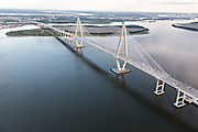 Aerial view of the Arthur Ravenel Bridge in Charleston, SC.