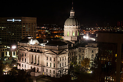 State Capitol Building at night, Indianapolis, Indiana, United States of America