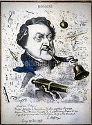 Caricature of composer Gioacchino Rossini by Hippolit Mailly on the occasion of the Hymne à Napoléon III performance (1867) / Caricatura del compositore Gioacchino Rossini disegnata nel 1867 da Hippolit Mailly in occasione dell'esecuzione dell'Hymne à Napoléon III - Reproduced by Marcello Mencarini