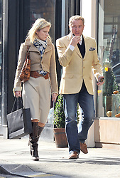(UK RIGHTS ONLY) Lord of the dance: Michael Flatley and his wife Niamh out shopping for shoes at Gina in Knightsbridge, London, UK. 15/10/2012<br />BYLINE MUST READ : EAGLEPRESS/GOTCHA IMAGES<br /><br />Copyright by © Gotcha Images Ltd. All rights reserved.<br />Usage of this image is conditional upon the acceptance <br />of Gotcha Images Ltd, terms and conditions available at<br />www.gotchaimages.com