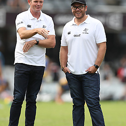 Sean Everitt (Assistant Coach) of the Cell C Sharks with Jaco Pienaar (Assistant Coach) of the Cell C Sharks during the Super Rugby match between the Cell C Sharks and the Western Force at Growthpoint Kings Park on May 06, 2017 in Durban, South Africa. (Photo by Steve Haag)