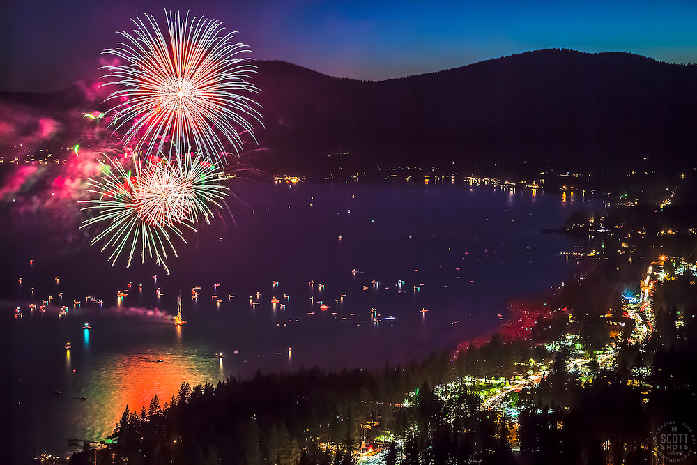 """Kings Beach Fireworks 1"" - Photograph of the 4th of July fireworks show above Kings Beach, Lake Tahoe."
