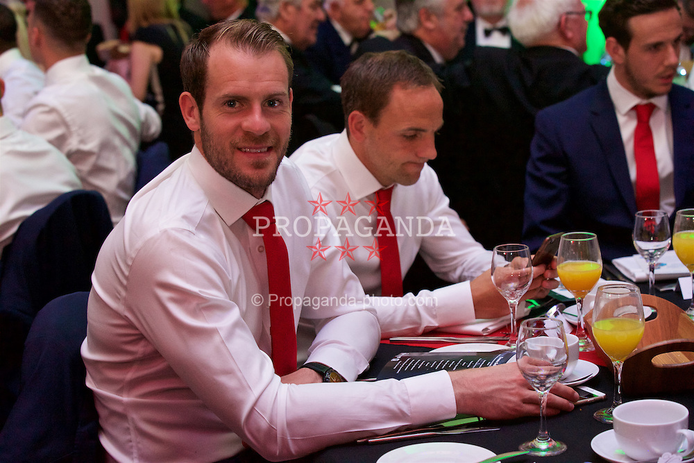 CARDIFF, WALES - Wednesday, June 1, 2016: Wales' goalkeeper Owain Fon Williams during a charity send-off gala dinner at the Vale Resort Hotel ahead of the UEFA Euro 2016. (Pic by David Rawcliffe/Propaganda)