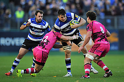David Sisi of Bath Rugby takes on the London Welsh defence - Photo mandatory by-line: Patrick Khachfe/JMP - Mobile: 07966 386802 01/11/2014 - SPORT - RUGBY UNION - Bath - The Recreation Ground - Bath Rugby v London Welsh - LV= Cup