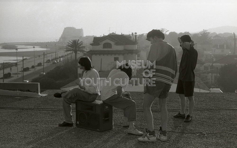Happy Mondays, 'Step On' promotional music video shoot, Sitges, Spain, 1990