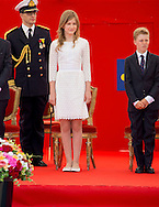 Brussels, 21-07-2016 <br /> <br /> National Day of Belgium celebrations.<br /> King Filip and Queen Mathilde and their children and Prince Laurent attend  Military Parade<br /> <br /> COPYRIGHT:ROYALPORTRAITS EUROPE/BERNARD RUEBSAMEN