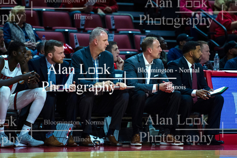 NORMAL, IL - October 23: John Putyrski, Brian Jones, Dan Muller and Marcus Belcher with Bill Salyer at table during a college basketball game between the ISU Redbirds and the Truman State Bulldogs on October 23 2019 at Redbird Arena in Normal, IL. (Photo by Alan Look)