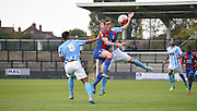 Conor Dymond finds himself in the middle of a Coventry sandwich during the Final Third Development League match between U21 Crystal Palace and U21 Coventry City at Selhurst Park, London, England on 12 October 2015. Photo by Michael Hulf.