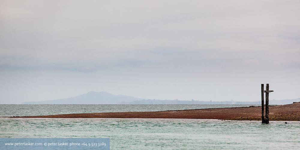 Southern tip of Pakihi Island. Southern corner of the Hauraki Gulf. Rangitoto Island in background.
