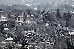 © Licensed to London News Pictures. 10/02/2012, London, UK.  View of snow covered houses from the North Down in Surrey, south London, as the cold weather continue to affect much of Britain. Friday, Feb. 10, 2012. Photo credit : Sang Tan/LNP