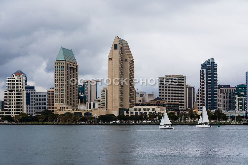Cloudy Downtown San Diego Skyline