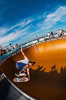 Professional skateboarding competitions at the Beach Bowl during the Australian Open of Surfing at Manly Beach, Sydney, New South Wales, Australia