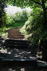 Bright summer sun pours in through the opening at the head of the Wooded steps leading up from Filey Brig Sailing club to the cliff top<br />