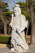 Statue of a military officer on Spirit Way at the Ming Tombs site, Changling, Beijing, China