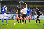 Bolton Wanderers Rob Holding is shown a yellow card during the The FA Cup third round match between Eastleigh and Bolton Wanderers at Silverlake Stadium, Ten Acres, Eastleigh, United Kingdom on 9 January 2016. Photo by Graham Hunt.