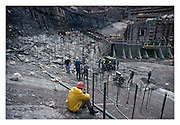 Construction of the dam wall on the Lesotho Highlands Water Project