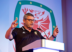 NEWPORT, WALES - Saturday, May 19, 2018: Welsh Football Trust technical director Osian Roberts during day two of the Football Association of Wales' National Coaches Conference 2018 at the Celtic Manor Resort. (Pic by David Rawcliffe/Propaganda)