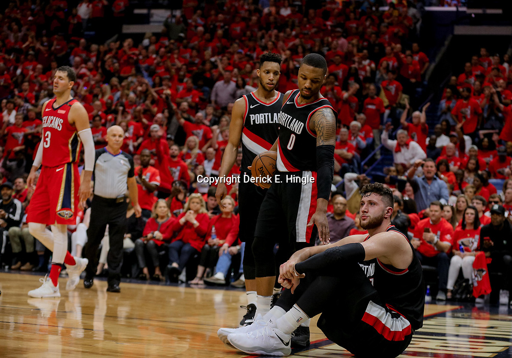 Apr 21, 2018; New Orleans, LA, USA; Portland Trail Blazers center Jusuf Nurkic (27) reacts after fouling out during the fourth quarter in game four of the first round of the 2018 NBA Playoffs against the New Orleans Pelicans at the Smoothie King Center.  Pelicans defeated the Trail Blazers 131-123 sweeping the series and advancing to the western conference semi-finals.  Mandatory Credit: Derick E. Hingle-USA TODAY Sports