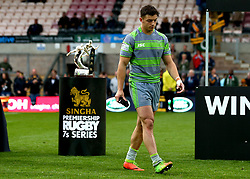 Adam Radwan of Newcastle Falcons cuts a dejected figure as he walks past the Premiership Rugby 7s Trophy after defeat to Wasps in the 2017 Final - Mandatory by-line: Robbie Stephenson/JMP - 29/07/2017 - RUGBY - Franklin's Gardens - Northampton, England - Wasps v Newcastle Falcons - Singha Premiership Rugby 7s