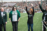 Kelly Baylog, recipient of the Charles P. and Claire O. Ping Recent Graduate Award, is honored during the homecoming matchup against Bowling Green at Peden Stadium in Athens, Ohio on Saturday, October 8, 2016.
